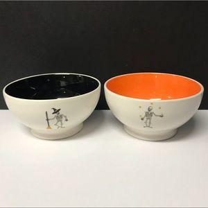 Rae Dunn 2 Brand New halloween Skeleton Bowls